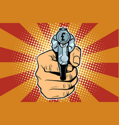 pound currency money finance revolver in hand vector image