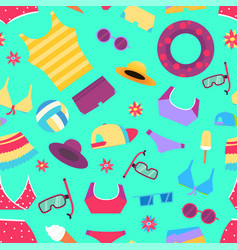 seamless summer pattern with beach objects and vector image vector image