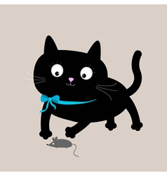 Cute cartoon black cat with mouse Funny animal vector image vector image