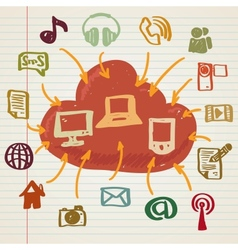 Social media in doodle style vector image vector image