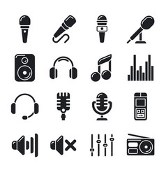 studio microphones music icons vector image