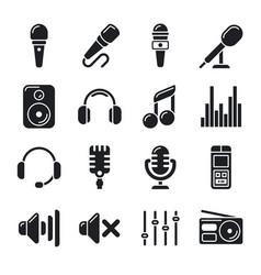 studio microphones music icons vector image vector image