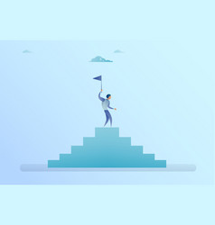 Business man on stairs top holding flag success vector
