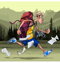 cartoon man tourist with a backpack vector image vector image