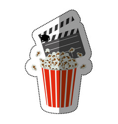 colorful sticker with popcorn container and vector image vector image