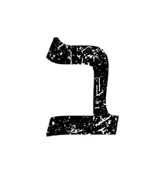 Hebrew letter Vet Shabby black font The Hebrew vector image vector image