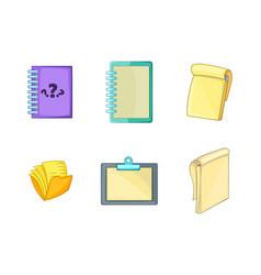 notebook icon set cartoon style vector image vector image