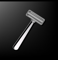 safety razor sign gray 3d printed icon on vector image vector image
