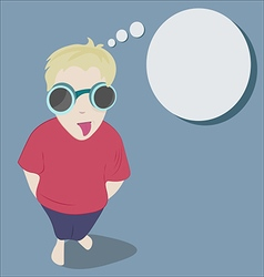 Teasing boy in funny glasses puts out the tongue vector image vector image