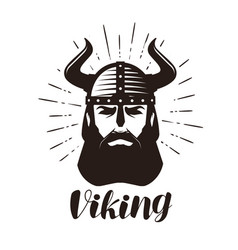 viking logo or label portrait of bearded man in vector image