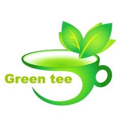 cup of green tea vector image vector image