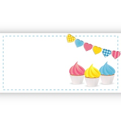 cupcake background panel and bunting vector image vector image