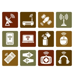 Flat Wireless and communication technology icons vector image vector image