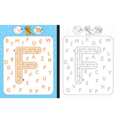 Maze letter f vector