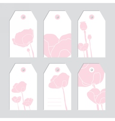 Set of floral tags Blank labels Pink flowers vector image vector image