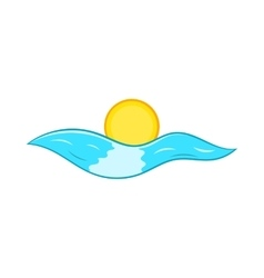 Sun and sea waves icon cartoon style vector image
