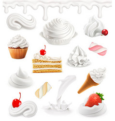 Whipped cream milk ice cream cake cupcake candy vector image vector image
