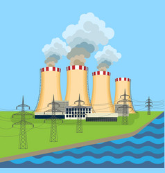 Working nuclear power plant near tower set along vector
