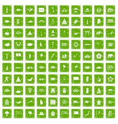 100 asian icons set grunge green vector image