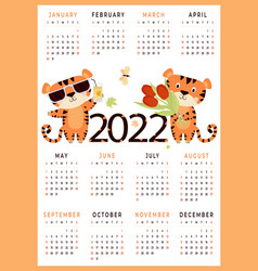 2022 children calendar with cute animals t vector