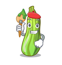 artist character fresh zucchini vegetable in vector image