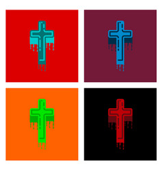 Assembly flat icons cross the blood vector