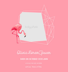 baby arrival announcement with flamingo vector image