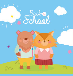back to school education cute bear and fox vector image