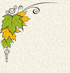 Background with leaves and curls vector