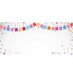 birthday celebration banner with colorful bunting vector image