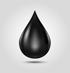 black oil drop isolated on light grey background vector image