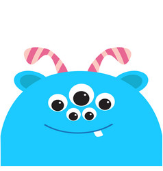 Blue monster head with ears tooth and horns black vector