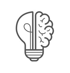 Brain idea icon light bulb with brain vector