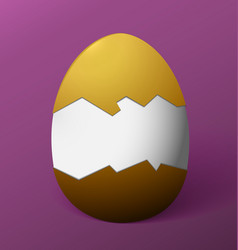 Brown easter egg without the shell in the middle vector
