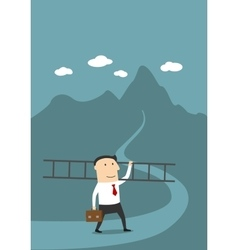 Businessman with ladder on the way to success vector image