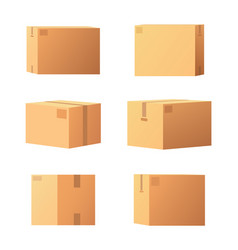 Carton packages with adhesive type set vector