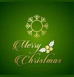 christmas card green background with snow flakes vector image