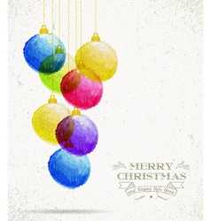 Christmas colorful oil pastel baubles card vector