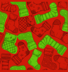 christmas stockings pattern vector image