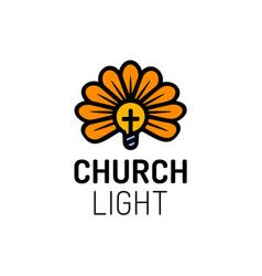 church logo with cross bulb and flower light vector image