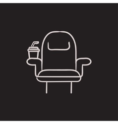 Cinema chair with disposable cup sketch icon vector image