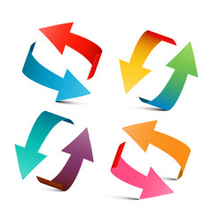 colorful arrows set 3d arrow logo design vector image