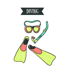 Colorful of diving mask snorkel and pair vector