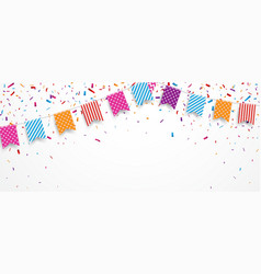 colorful party flags with confetti and ribbons vector image