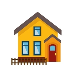 Cute house exterior isolated icon vector
