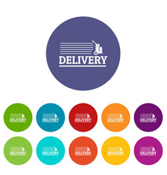 delivery post icons set color vector image