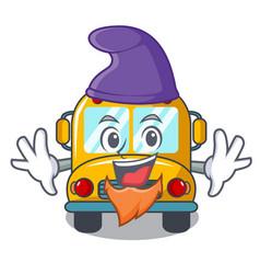 elf school bus character cartoon vector image