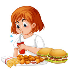 Fat girl eating fast food vector