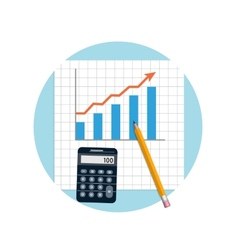 Financial planning with calculator and pencil vector image