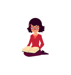 Flat adult woman girl reading book vector